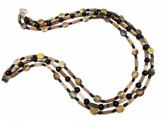 Boho Gemstone bead necklace- Triple strand -  Agate,jasper,onyx - 23 inches - Handmade