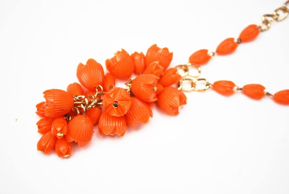 Orange Orange   Bead Necklace -  grape cluster tassel  - gold chain - Signed Hong Kong - Lucite plastic