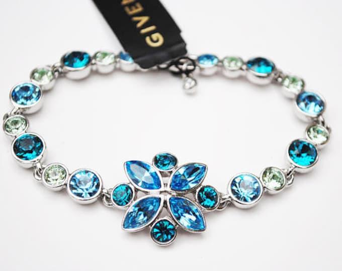 Givenchy Blue Green RhinestoneBracelet - Flower - Tennis bracelet - light blue green crystal