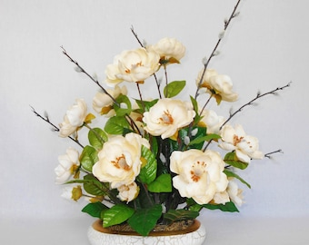 Artificial Flower Arrangement, Vanilla Colored Magnolia Blossoms, Pussy Willow Branches, Off White Vase with Crackle Finish, Home Decor,
