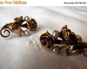 Celebrate Vintage Rose Earrings with pearl accents gold