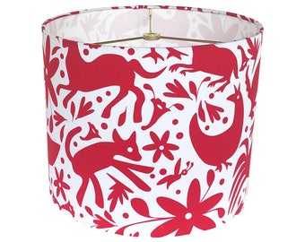 Drum Lamp Shade - Red Lampshade - Mexican Springtime by an Independent Designer - Otomi Red on White