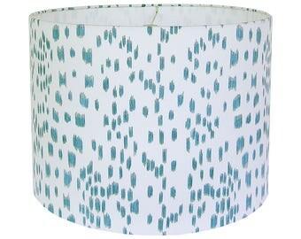 Aqua Lamp Shade, Custom Lampshade, Blue Lampshades, Les Touches Lamp Shade, Brunschwig & Fils,  Animal Print Lampshade, Fabric Lamp Shade