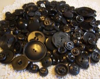 Vintage Odd Lot 253 Black Buttons, Many Colt, Some Sets (DM)
