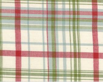 SNOWFALL WOVENS -Snow White - #12812-11 - One Half Yard - Minick & Simpson - Wovens - Plaid - Red - Green - Blue - Natural - Christmas