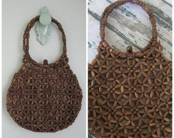 Summer Clearout Vintage Wooden Beaded Handbag// 1960's