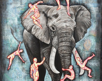 Blind Men and the Elephant, Fine Art Print signed by Jamie Rice, Giclees from Original Paintings