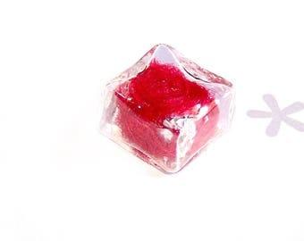 Mini globe square red CARDEE wool filled glass 14 mm