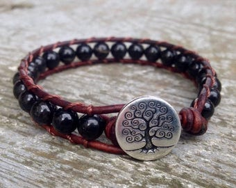 FALL SALE black tourmaline beaded leather wrap bracelet for root chakra unisex for men and women october birthstone birthday