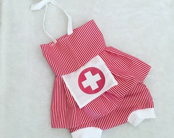 Nurse, candy stripper, baby, costume,  Halloween, dress, Shorties, cotton diaper cover,  nb, size 3, 6, 9, 12, 24 months, 2T