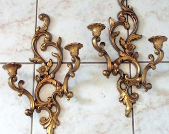Vintage 1960 Hollywood Regency SYROCO Gold Wall Double Sconces Candle Holders