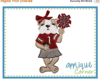 50% Off 707 Bulldog Standing Girl Mascot Football applique digital design for embroidery machine by Applique Corner