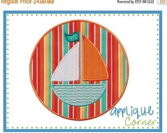40% OFF Sailboat applique digital design for embroidery machine by Applique Corner