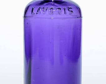 Beautiful Deep PURPLE Antique LAVORIS BOTTLE bottle - 100 Years Old from Minneapolis - chipped