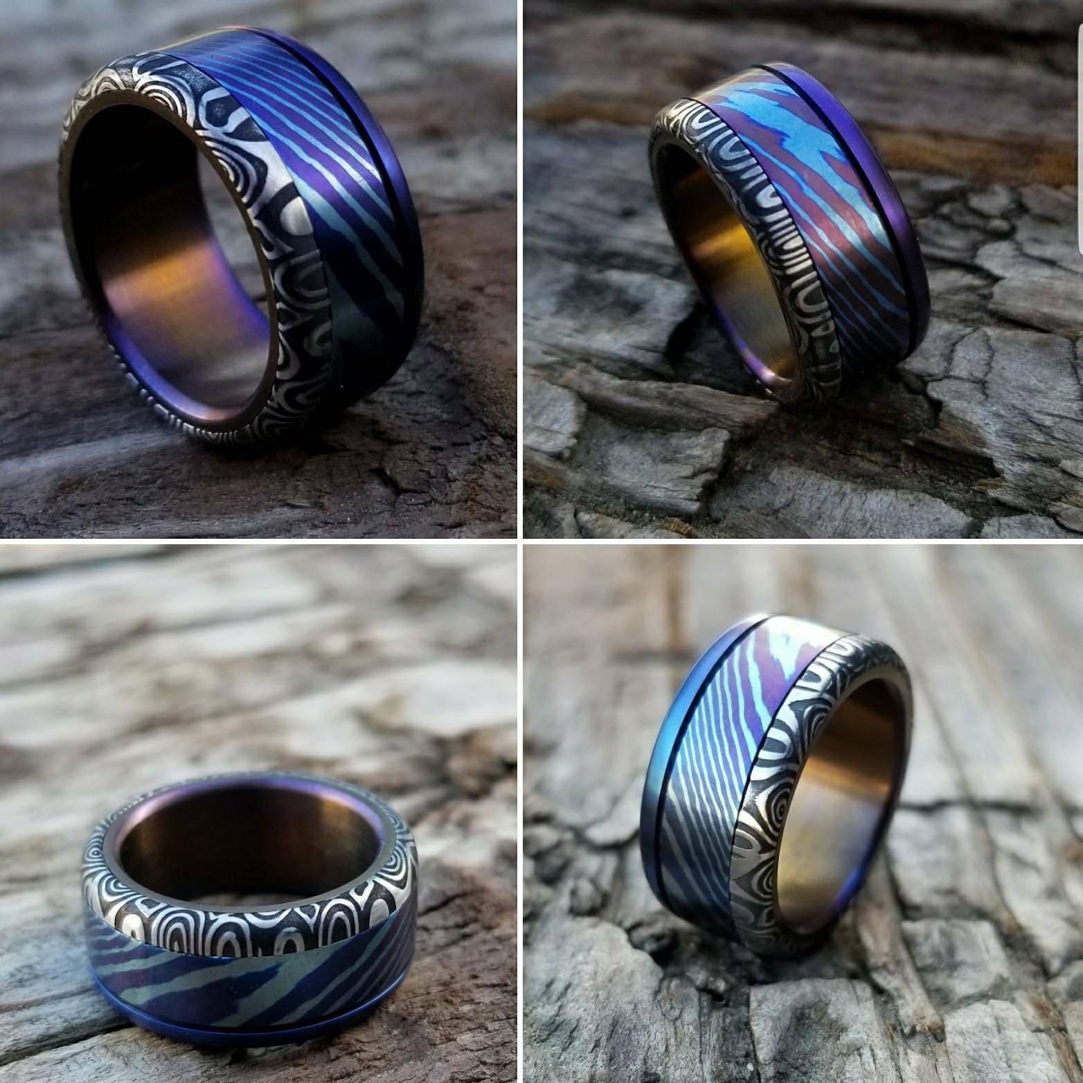 damascus ring 8mm Hawaiian Titanium lined Timascus ring Mokuti