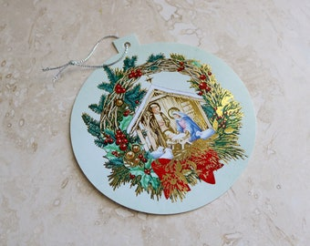 Vintage Christmas card, round Christmas card, ornament card, holiday card, circular Christmas card, greeting card and envelope