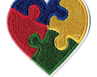 Autism Awareness Heart - April - Embroidered Iron On Applique Patch