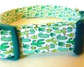 "Cactus Dog Collar - Girl Dog Collar, Boy Dog Collar - Green Cactus on White - Desert Dog Collar - ""Lil-Cactus"" - Free Colored Buckles"