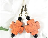 Orange Howlite Cross Earrings, Cross Jewelry, Orange and Black Christian Earrings, Boho Chic Cute Earrings Christian Jewelry, Womens Jewelry