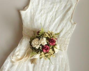 Bridesmaids Bouquet, Flower Girl Bouquet, Toss Wedding Bouquet, Burgundy Bouquet, Dried Flower Bouquet, Silk Flower Bouquet BURGUNDY ROSE