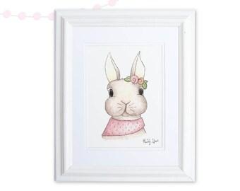 Bunny Art Print, Bunny Watercolor Floral Nursery Art, Pink Baby Girl Room, Woodland Nursery Art, Rabbit Print, Rabbit Lover Gift, Tea Party