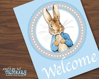 Printable Peter Rabbit Welcome Sign, BlLue and Gray Wall Sign, DIY digital file