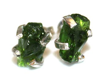 Chrome Diopside Stud Earring Silver Earring Chrome Diopside Jewelry Free Form Mismatched Earring Bottle Green Prong Set Earring Raw Gemstone