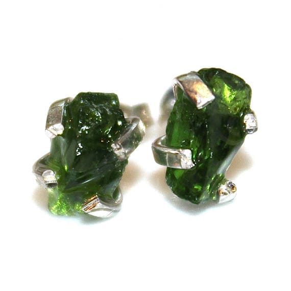 Chrome Diopside Stud Earring in Sterling Silver