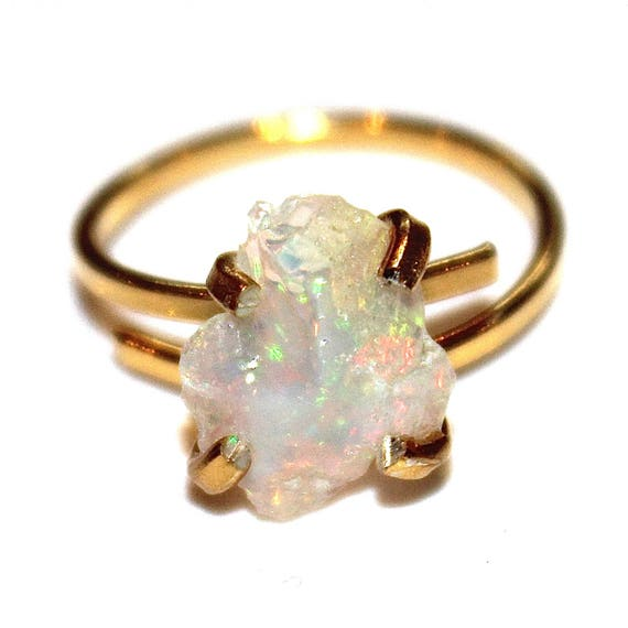 Small Opal Ring Jelly Opal  Fire Opal Ring Natural Opal Jewelry Ethiopian Opal Welo Opal Gold Opal Ring Adjustable Ring Small Opal