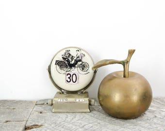 Little Brass School Bell - Brass Apple - Vintage Patina - Chic Teacher Gift