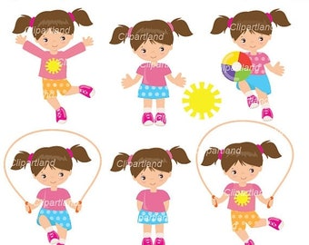 ON SALE INSTANT Download. Cgr_1. Girl with skipping rope clip art. Personal and commercial use.