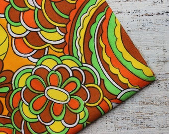 Vintage cotton fabric 1.73 yards green orange yellow denim boho floral
