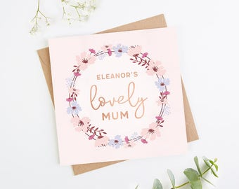 Personalised Mother's Day Card Lovely Mum