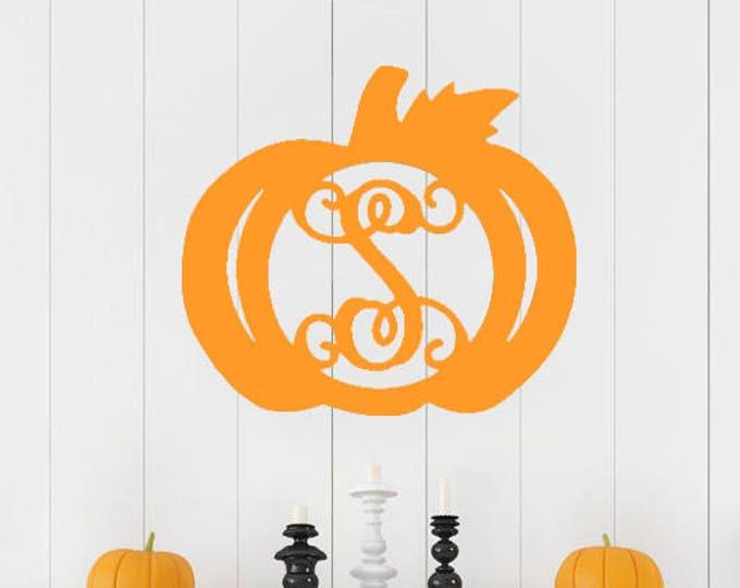 Wooden Monogrammed Pumpkin,  Monogrammed Door Hanger, Fall Door Decor, Wooden Pumpkin, Wooden Monogram