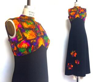 1960s Maxi Dress Vintage 60s Psychedelic Print Long Dress Flower Applique Black Orange Purple Green / Medium Large