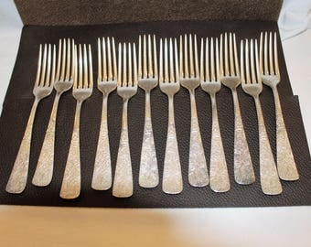 Vintage Carson Pirie Scott from Chicago Silver Set of 8 Dinner and 4 Salad Forks