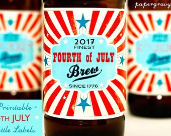 Fourth of JULY 2017 printable Beer Labels - 4th July Instant Download