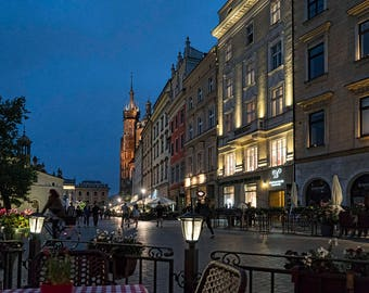 Krakow Street Scene Night Evening Urban City Architecture Color Landmark City Europe Poland Art Photo Print