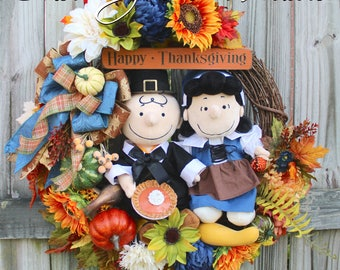 Pilgrim Charlie Brown and Lucy Thanksgiving Wreath, pumpkin pie, Deluxe Peanuts Holiday- 1 of a KIND- NO REPRODUCTIONS, Fall Wreath