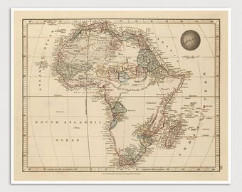 Old Africa Map Art Print 1825 Antique Map Archival Reproduction