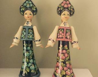 Ukrainian Russian Hand Painted Wooden Dolls With Kokoshnik Headdresses Heritage Dolls