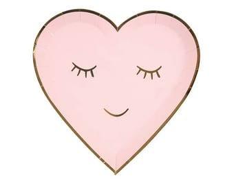 Medium Blushing Heart Paper Plates - Meri Meri- Party Decor Supplies Pastel, Pink, Gold, Birthday, Parties, Summer, Spring, Valentine, Love