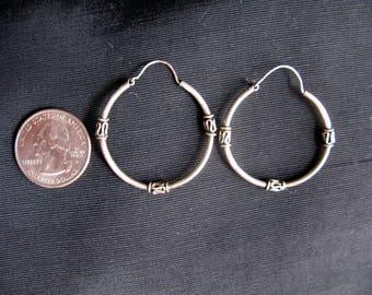 Silver Hoop Earrings, Large Hoops Earrings, Pierced