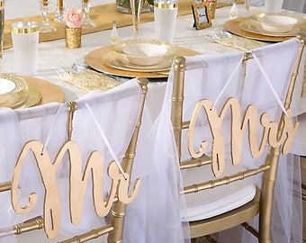 Mr  Mrs Chair Sign Classic Gold Silver Bride and Groom Chair Signs Wood Gold Wedding Reception Chair Signs Set