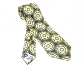 1970s Wide Polyester Tie Mens Vintage Disco Era Necktie with Woven Circle Designs by Briar