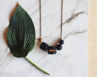 Evie necklace   Geometric beads   Black