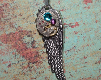Wing Necklace, Angel Wing Necklace, Steampunk Necklace, Silver Vintage Tugaris Watch Mechanism, N70