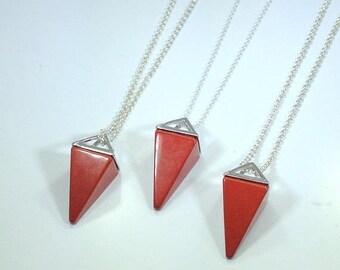 10% off SALE Red Jasper Necklace Triangle Necklace Red Jasper Pendulum Sterling Silver Necklace Stone Necklace Red Jasper Jewelry Geometric