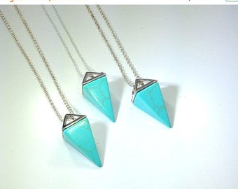 10% off SALE Turquoise Necklace Triangle Necklace Womans Silver Jewelry Turquoise Pendant on Sterling Silver Necklace Womans Necklace Geomet
