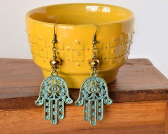 Hamsa Dangle Earrings / Gypsy Earrings/ Talisman / Evil Eye Earrings / Boho Earrings / Gifts for Her / Bohemian Earrings / Teal Earrings